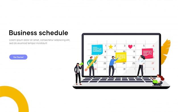 幸せなビジネスチームは、ノートパソコンの図の概念、職場での時間管理組織の議題の予定を作る