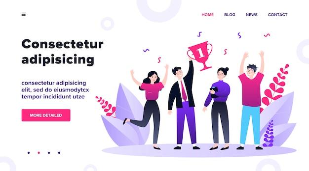 Счастливый бизнес команда выиграв приз. победители празднуют достижение и держат кубок. иллюстрация для совместной работы, награда, концепция корпоративного успеха