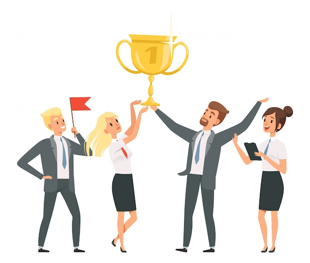 Happy business team with golden trophy  illustrartion