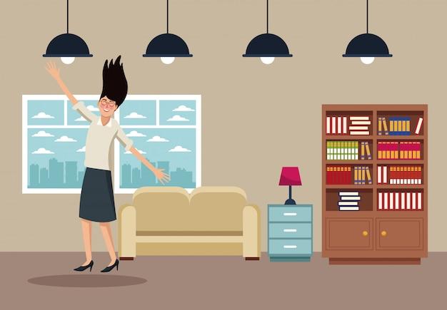 Счастливый бизнес женщина на дому мультфильм
