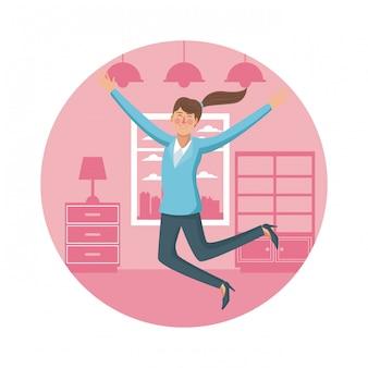 Счастливый деловая женщина дома