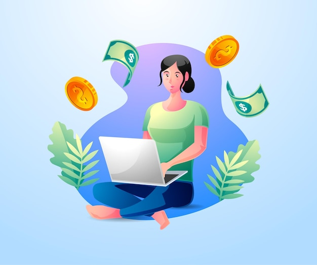 Счастливая деловая женщина зарабатывает деньги