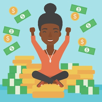 Happy business woman sitting on coins.