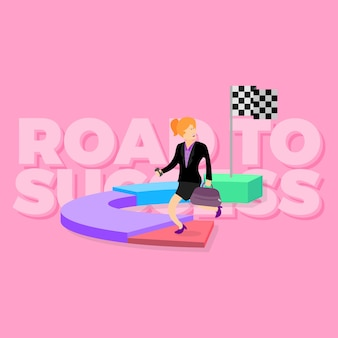 Happy business women road to success