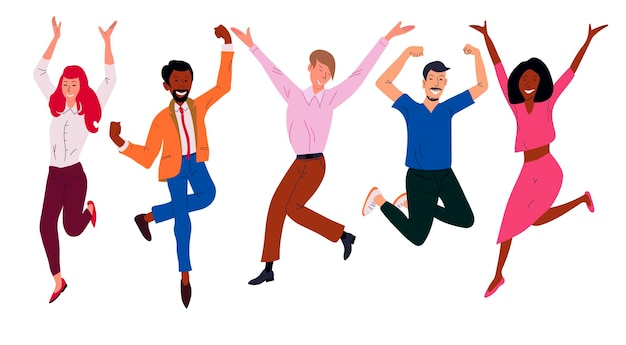 Happy business workers jumping celebrating success achievement. office worker set, cheerful corporate employees, flat cartoon characters isolated on a white background.