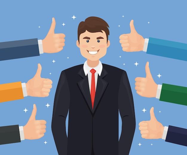 Счастливый бизнесмен и много рук с большими пальцами руки вверх. положительный отзыв, успех, хороший отзыв