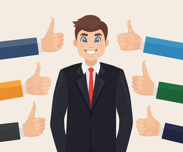 Счастливый бизнесмен и много рук с большими пальцами руки вверх
