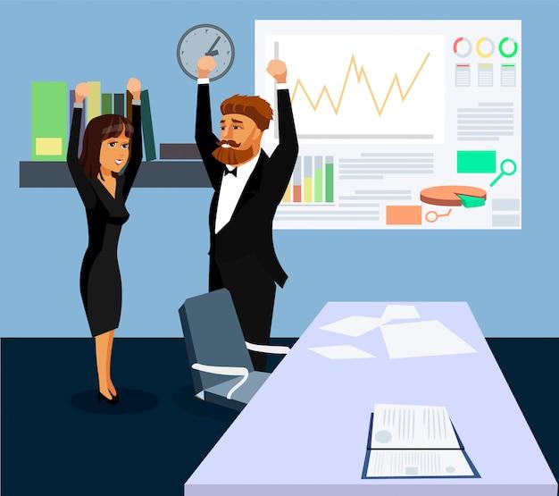 Happy businessman and businesswoman illustration.