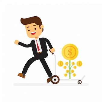 幸せなビジネスマンはカートに金のなる木を植えることを運ぶ
