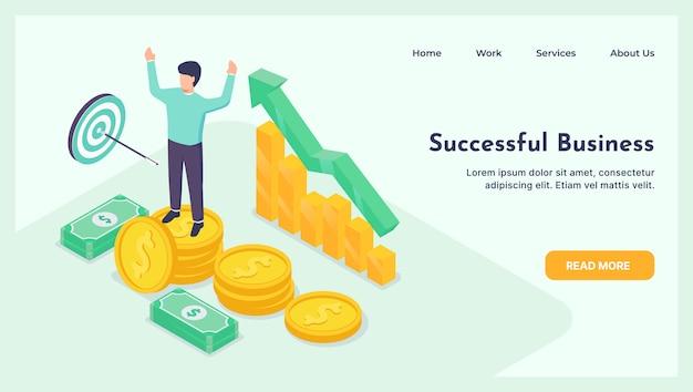 幸せなビジネスマンは、金とお金の上に立って成功を祝います。成功のコンセプトが立ち上がる。等尺性ランディングページ