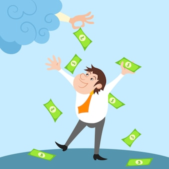 Happy businessman character standing under money rain after financial success