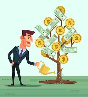 Happy businessman character watering money flat cartoon illustration