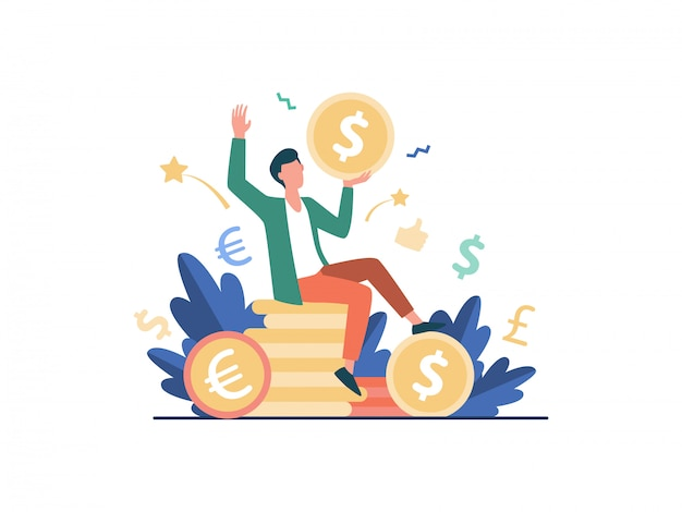 Happy businessman earning money   illustration