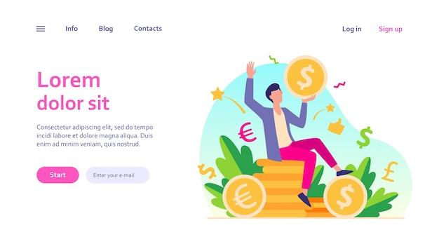 Счастливый бизнесмен зарабатывания денег веб-шаблон. мультяшный миллионер или банкир держит огромную монету