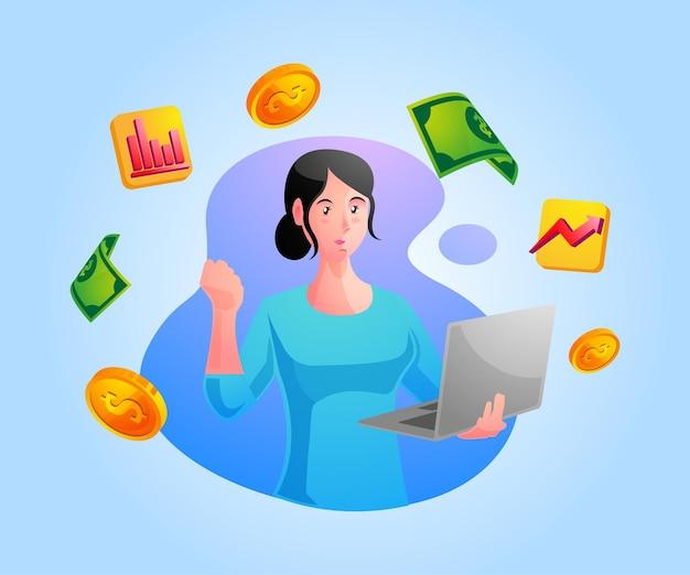 Счастливый бизнесмен зарабатывает деньги