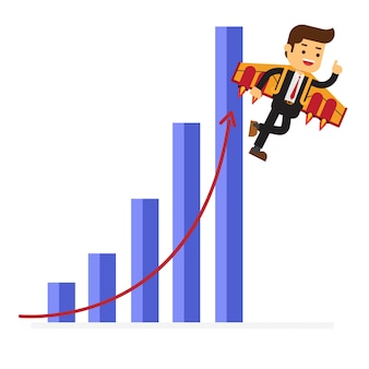 Happy businessman flying on jetpacks to his goal