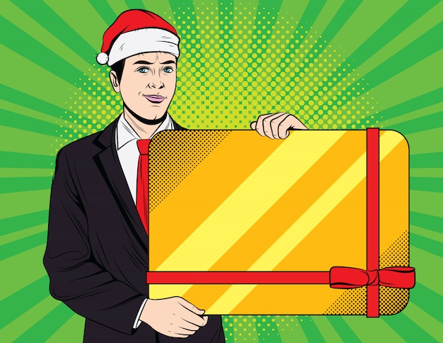 Happy businessman get christmas bonus