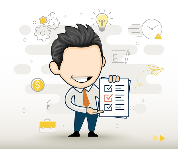 Happy businessman holding clipboard with completed checklist paper flat design in cartoon style