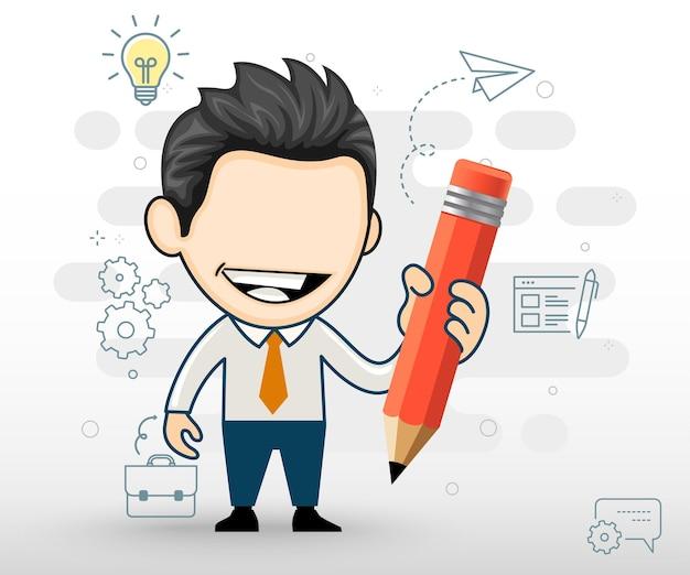 Happy businessman holding a pencil funny cartoon character vector