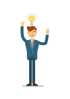 시작을위한 행복 한 사업가 아이디어 생성