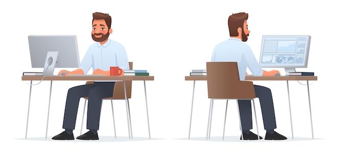 幸せなビジネスマンはデスクトップに座っています。コンピューター、財務分析を行います。サラリーマンまたは会社員。表裏。漫画スタイルのベクトル図