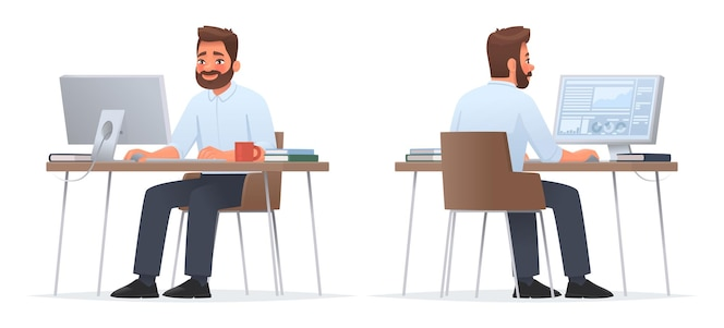 L'uomo d'affari felice è seduto al desktop. lavora al computer, analisi finanziaria. impiegato d'ufficio o dipendente dell'azienda. lato anteriore e posteriore. illustrazione vettoriale in stile cartone animato