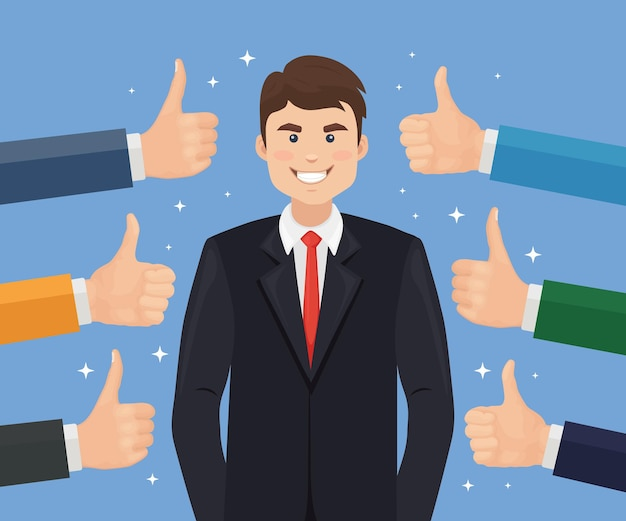 Happy businessman and many hands with thumbs up. positive feedback, success, good review