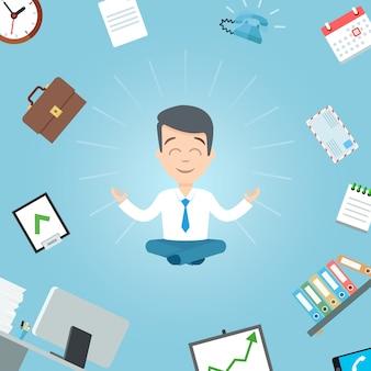幸せなビジネスマンがオフィスで瞑想します。ビジネスヨガオフィスワーカー瞑想ベクトルイラスト