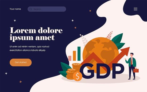 Счастливый бизнесмен, представляя рост ввп. человек в костюме с диаграммой роста, наличными деньгами и земным шаром. векторная иллюстрация для уровня валового внутреннего продукта, глобальной экономики, национального бюджета, инфляционных концепций