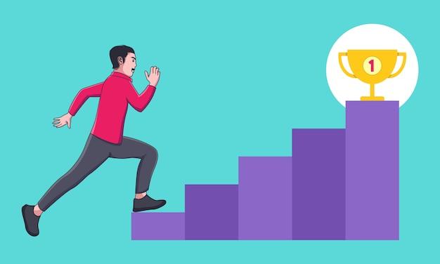 Счастливый бизнесмен бегать и прыгать вверх по лестнице к золотому трофею