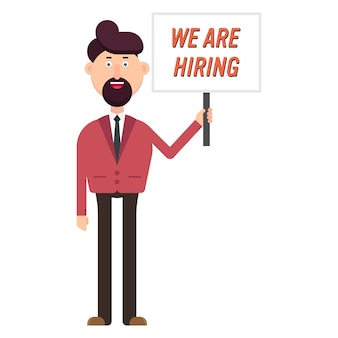 Happy businessman show a banner with hiring text