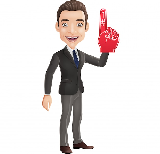 Happy businessman showing number one with foam finger