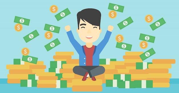 Happy businessman sitting on coins.