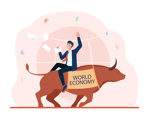 Счастливый бизнесмен, сидящий на быке