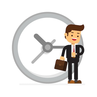 Happy businessman stand leaning to big clock