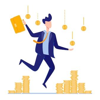 Happy businessman standing under money rain coins.