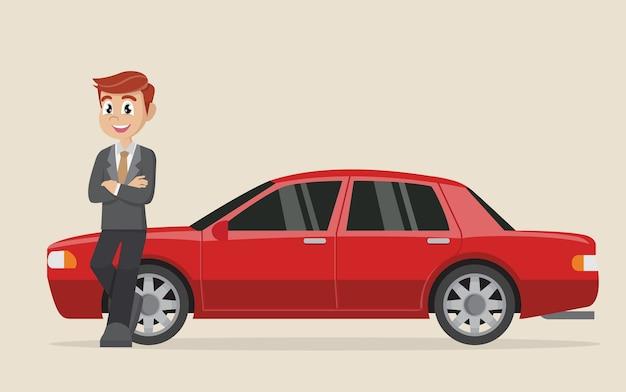 Happy businessman standing near car.