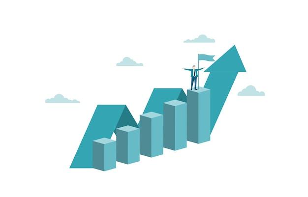 幸せなビジネスマンはグラフの上に立っています。ビジネスマンのための目標、成功、野心、機会、達成、挑戦、成功のビジネスコンセプト。ベクトルイラストフラット