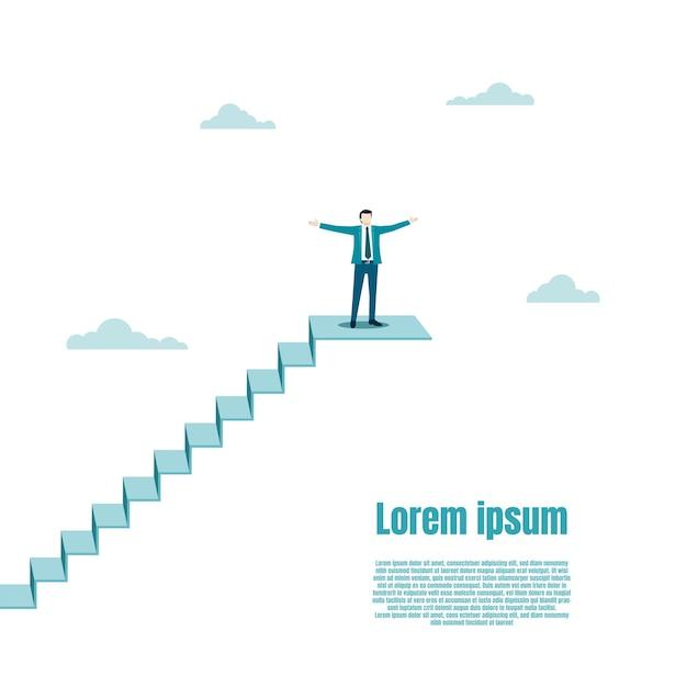 幸せなビジネスマンは階段の上に立っています。ビジネスマンのための目標、成功、野心、機会、達成、挑戦、成功のビジネスコンセプト。ベクトルイラストフラット