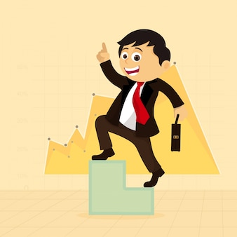 Happy businessman on success stairs, statistical graph background for business concept.