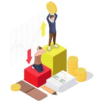 幸せなビジネスマン、経済的な成功を祝う成功した投資家、フラットベクトル等角図。