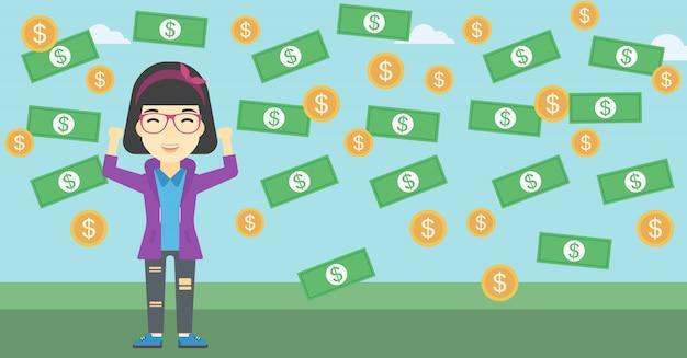 Счастливый бизнесмен под дождем денег