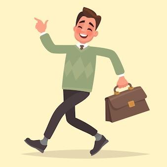 Идет счастливый бизнесмен с портфелем. векторная иллюстрация в плоском стиле