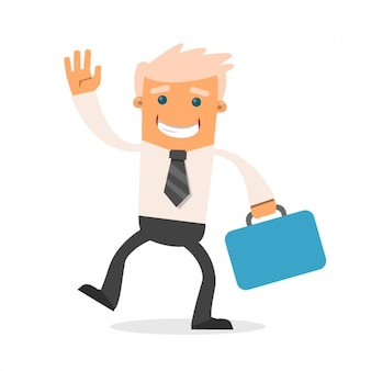 Happy businessman with a briefcase