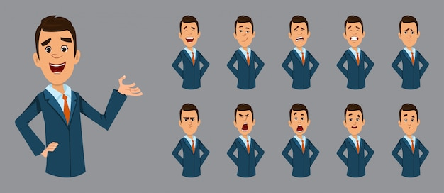 Happy businessman with different facial expression