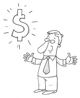 Happy businessman with dollar sign cartoon