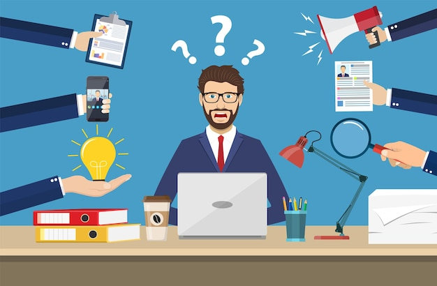 紙、コーヒー、携帯電話を持っている多くの手を持つ幸せなビジネスマン。マルチタスクと生産性の概念。