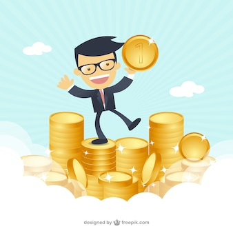 Happy businessman with money