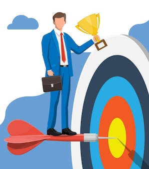 Happy businessman with trophy and dart target. goal setting. business man with briefcase. smart goal. business target concept. achievement and success. vector illustration in flat style