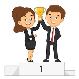 Счастливые бизнесмены и бизнес-леди, стоящие на подиуме победителей